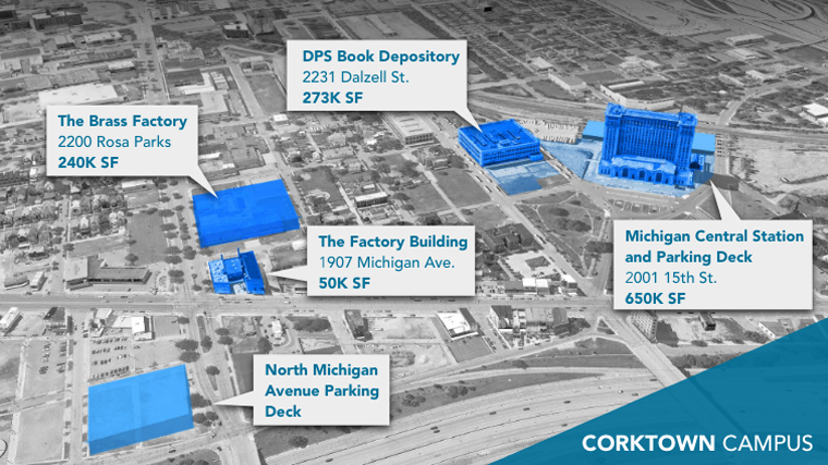 Ford Land Corktown Detroit Drone Map